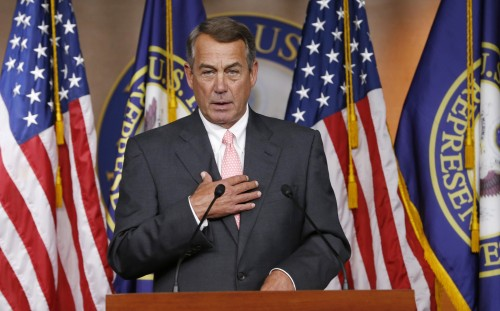 FILE - In this Sept. 25, 2015 file photo, House Speaker John Boehner of Ohio announces on Capitol Hill in Washington, that he will resign from Congress at the end of October. The gulf between tea party conservatives and establishment Republicans has gotten so big it just swallowed up the speaker of the House and may threaten the entire Republican Party and Congress itself.  (AP Photo/Steve Helber, File)