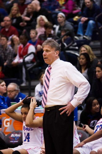 Womens' basketball coach Doug Bruno stands on the sidelines of a game last season. Photo courtesy of DePaul.