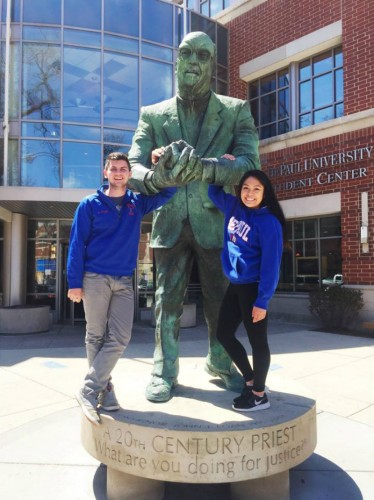 SGA President Vanessa Cadavillo (right) and Vice President Ric Popp stand in front of the Student Center before their victory last May. Photo courtesy of Vanessa Cadavillo.