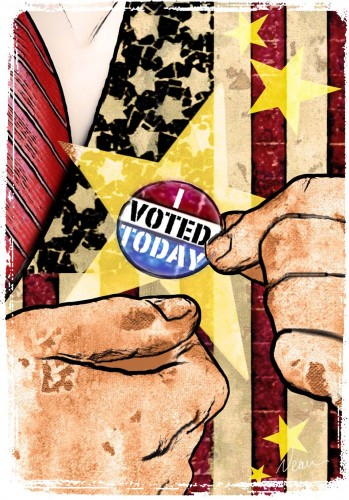 "300 dpi Rick Nease color illustration of hands placing an ""I Voted Today"" button on stars-and-stripes lapel. Detroit Free Press 2008 KEYWORDS: vote illustration voter registration voting election day button patriotic patriotism democracy, krtgovernment government, krtnational national, krtpolitics politics, krt, mctillustration, krteln election, krtuspolitics, national election, vote, voting, krteln2008, 2008, krt2008, POL, VOTE, 11003004, 11003007, 11000000, de contributed coddington nease mct mct2008"