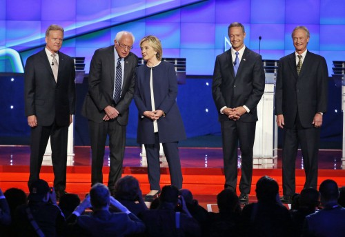 Democratic presidential candidates from left, former Virginia Sen. Jim Webb, Sen. Bernie Sanders, of Vermont, Hillary Rodham Clinton, former Maryland Gov. Martin O'Malley, and former Rhode Island Gov. Lincoln Chafee take the stage before the CNN Democratic presidential debate Tuesday, Oct. 13, 2015, in Las Vegas. (AP Photo/John Locher)