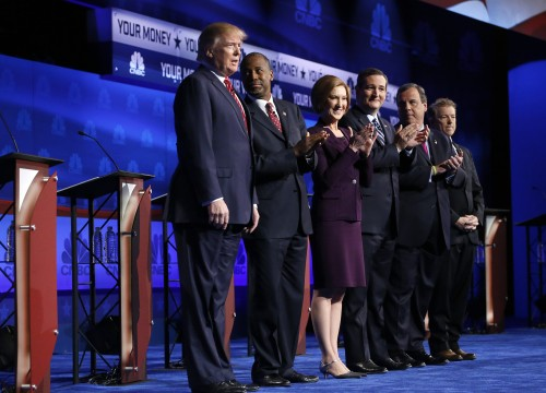 Republican presidential candidates, from left, Donald Trump, Ben Carson, Carly Fiorina, Ted Cruz, Chris Christie, and Rand Paul take the stage during the CNBC Republican presidential debate at the University of Colorado, Wednesday, Oct. 28, 2015, in Boulder, Colo. (AP Photo/Brennan Linsley)