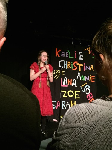 "Jessie Cave at the Soho Theatre in London on Oct. 15. Cave, mostly known for her role as Lavender Brown in the ""Harry Potter"" series, also regularly performs stand-up comedy in London. (Photo by Carolyn Duff 