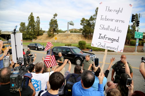 FILE - In this Oct. 9, 2015 file photo, demonstrators wave flags and signs as President Barack Obama's motorcade leaves Roseburg High School after a visit with families of victims of the shootings at Umpqua Community College in Roseburg, Ore. Voters in a southern Oregon county will weigh in next month on a measure that seeks to prohibit enforcement of gun laws, although it may have only symbolic effect. AP Photo/Ryan Kang, File)