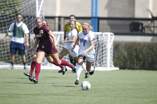 Senior forward Elise Wyatt started scoring her freshman year with five goals and steadily increased every year to break the DePaul record for goals in women's soccer with 34 so far. (Photo courtesy of DEPAUL ATHLETICS)