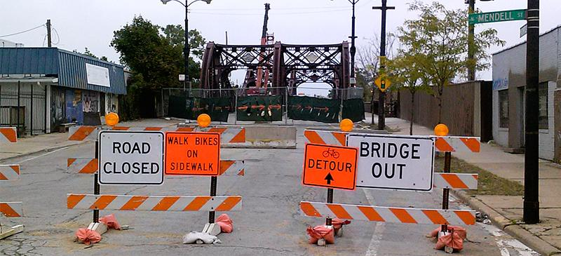 Cortland Bridge construction irks drivers, no bother for bikers