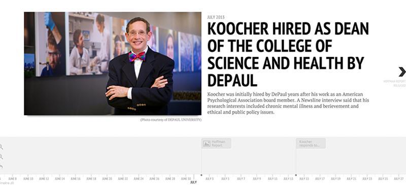 Timeline: Dean Gerald Koocher and DePaul