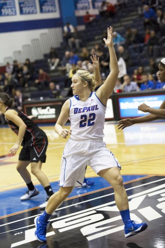 Redshirt junior guard Brooke Schulte will likely be a starter for the 2015-16 season, giving her the potential to have a career-high season in DePaul's high-powered offense. (Geoff Stellfox / The DePaulia)