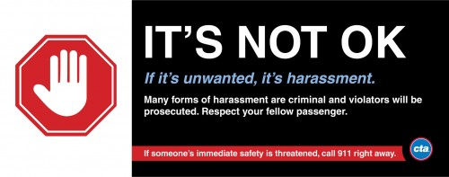 A new ad campaign on the CTA urges riders to call 911 if they witness harassment. (Photo courtesy of CHICAGO TRANSIT AUTHORITY)