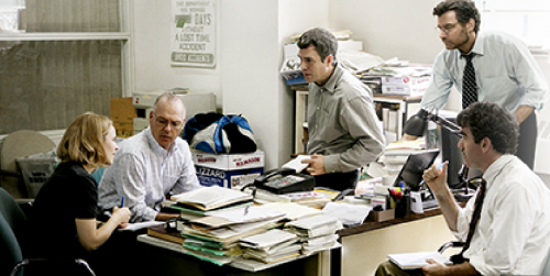 """A scene from """"Spotlight,"""" which focuses on some of the staff of the Boston Globe and their coverage of the Massachusetts Catholic sex abuse scandal in 2002. (Photo Courtesy of OPEN ROAD FILMS)."""