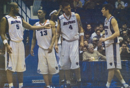 The 2003-2004 team (above) was the last DePaul team to make the NCAA tournament, where they won their first round game against Dayton in a 70-68 double overtime win.