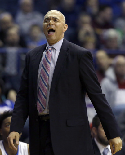 DePaul head coach Dave Leitao reacts as he watches his team during the second half of an NCAA college basketball game against Northwestern on Saturday, Dec. 19, 2015, in Rosemont, Ill. Northwestern won 78-70 in overtime. (AP Photo/Nam Y. Huh)