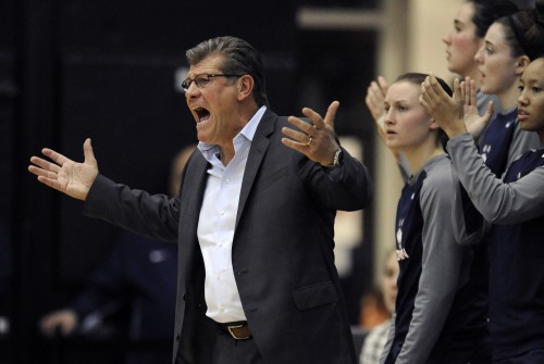 Connecticut head coach Geno Auriemma yells at his players during the first half of a basketball game against DePaul, Wednesday, Dec. 2, 2015, in Chicago. Connecticut won 86-70. (AP Photo/Paul Beaty)