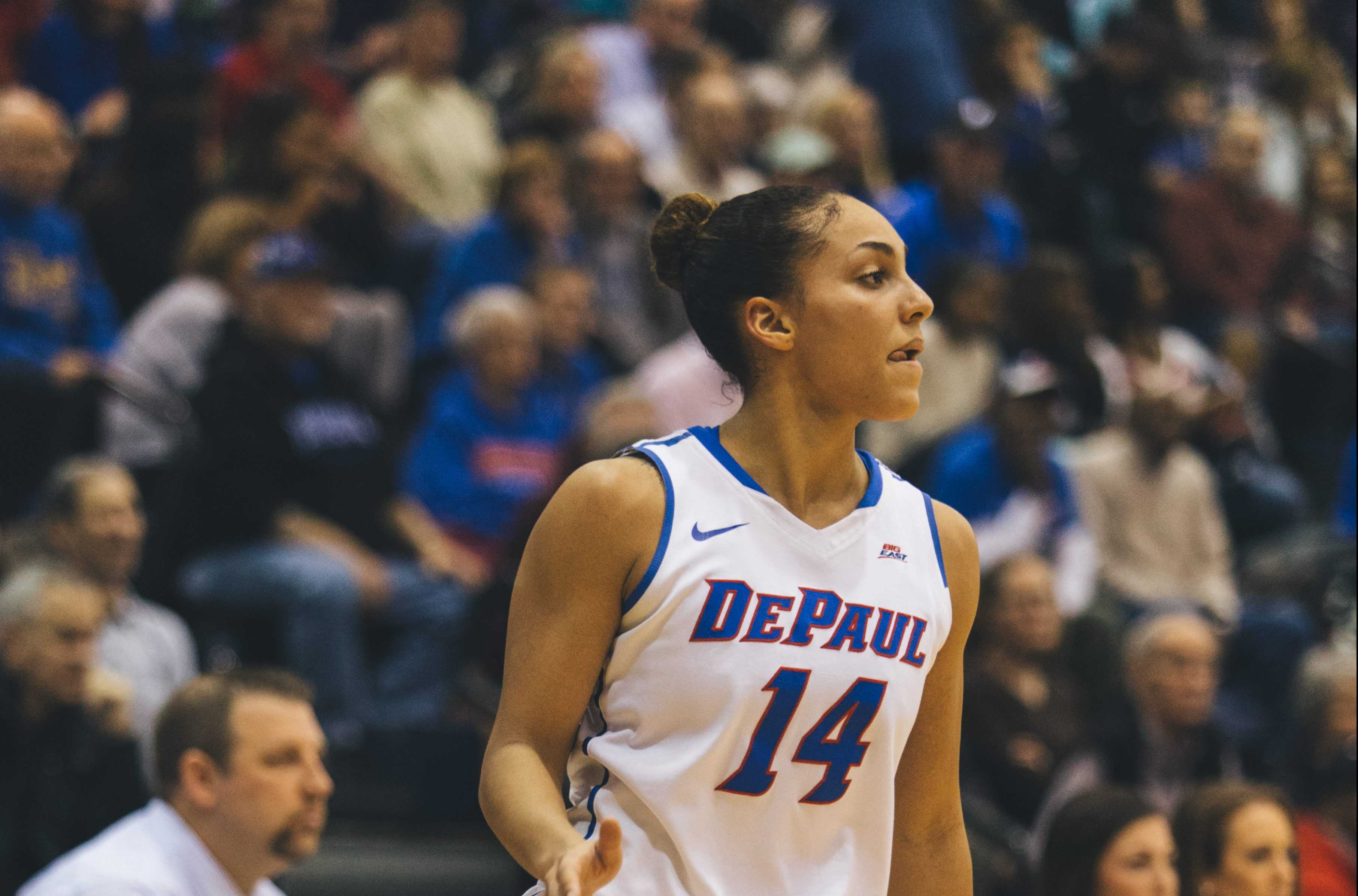 Junior guard Jessica January plays against Creighton.  (Photo by Josh Leff / The DePaulia)