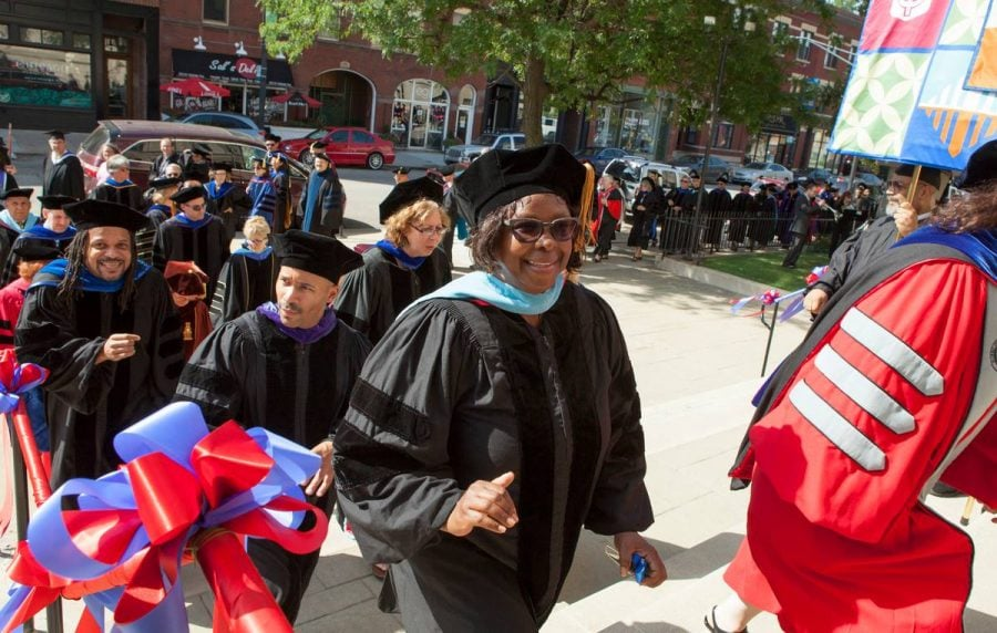 Faculty members enter St. Vincent de Paul Church during convocation. Certain tenured faculty will have the opportunity to participate in phased retirement. (Jeff Carrion / DePaul University)