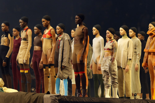 """Models wear fashion from the Yeezy collection at a presentation and album release for Kanye West's latest album, """"The Life of Pablo,"""" Thursday, Feb. 11, 2016 at Madison Square Garden in New York. (Photo courtesy of Bruce Barton 