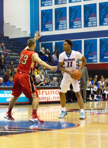 Freshman guard Eli Cain has been a starter for most of the season.  (Geoff Stellfox / The DePaulia)