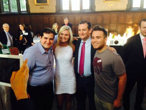 Been (second from left) and other DePaul students pose with Sen. Ted Cruz (R - Texas) at a 43rd Ward Republicans fundraiser in October 2014. Been is supporting Trump this election. (Photo courtesy of MARK WEYERMULLER)