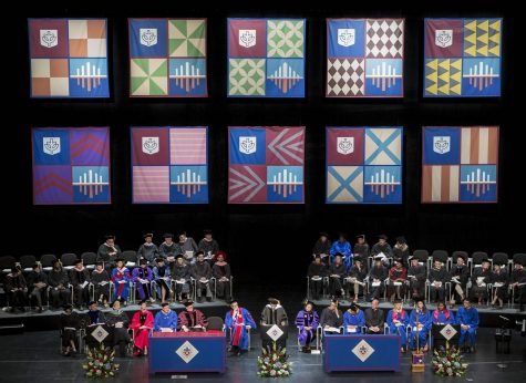 Honorary degree recipient Muhal Richard Abrams, a world-renowned pianist, addresses the graduates of DePaul University's School of Music and The Theatre School at the 117th commencement ceremonies on June 13, 2015. (DePaul University / Jeff Carrion)