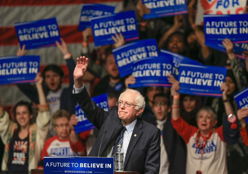 Democratic presidential candidate, Sen. Bernie Sanders, I-Vt. waves to the audience at the conclusion of an election rally in Lincoln, Neb., Thursday, March 3, 2016. Nebraska's Democratic caucus takes place on Saturday. (AP Photo/Nati Harnik)