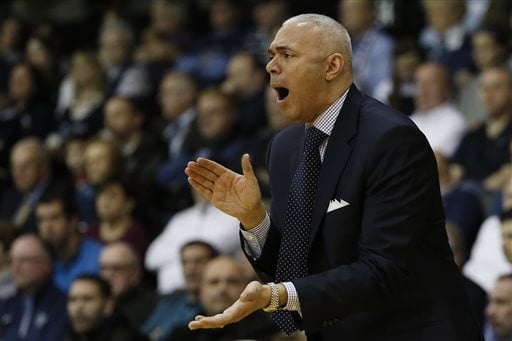 DePaul head coach Dave Leitao yells to his team during the first half of an NCAA college basketball  game against Villanova, Tuesday, March 1, 2016, in Philadelphia. (AP Photo/Matt Slocum)
