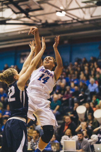 DePaul guard Jessica January goes up for the shot against Butler Sunday at McGrath Phillips Arena. DePaul won 76-49