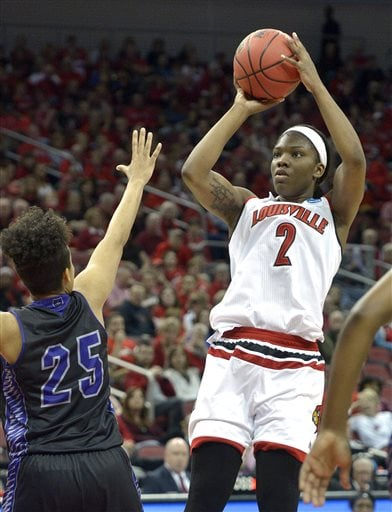Louisville's Myisha Hines-Allen (2) shoots over Central Arkansas's Olivia McWilliams (25) during the second half of a first-round women's college basketball game in the NCAA Tournament in Louisville, Ky., Friday, March 18, 2016. Louisville won 87-60. (AP Photo/Timothy D. Easley)