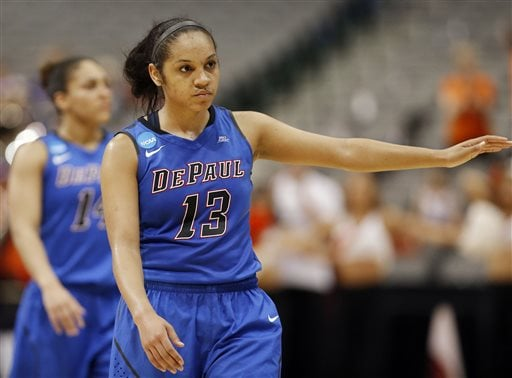 DePaul guard Chanise Jenkins (13) walks off the court after an NCAA college basketball game in the regional semifinals of the women's NCAA Tournament against Oregon State Saturday, March 26, 2016, in Dallas. Oregon State won 83-71. (AP Photo/Brandon Wade)