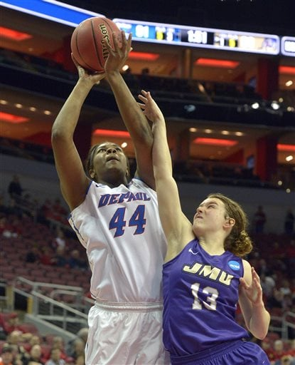 DePaul's Brandi Harvey-Carr (44) shoots over James Madison's Logan Reynolds (13) during the second half of a first-round women's college basketball game in the NCAA Tournament in Louisville, Ky., Friday, March 18, 2016. DePaul won 97-67. (AP Photo/Timothy D. Easley)