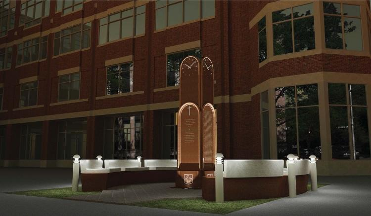 The Vincentian monument on DePaul's Lincoln Park Campus will stand at 11-feet-high and include a four-sided clock feature. Construction will be complete in June. (Graphic courtesy of Vasilko Architects & Associates)