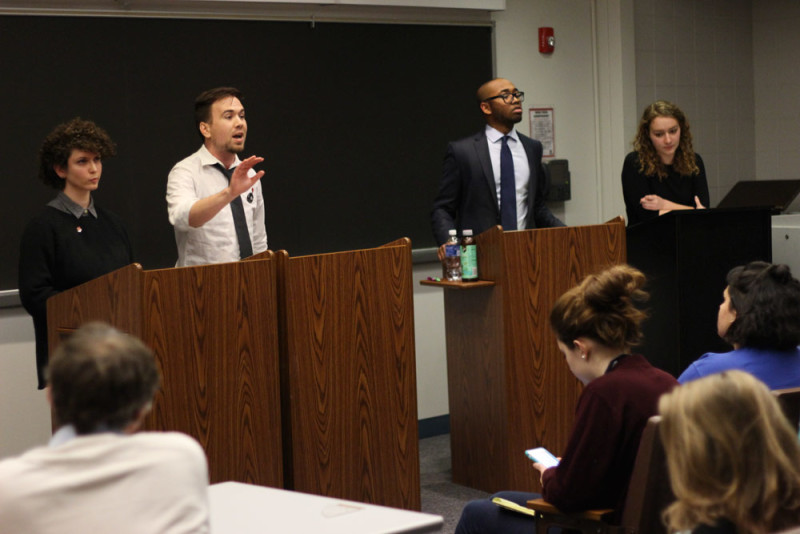 DePaul Democrats, College Republicans and Socialists faced off in a debate Tuesday. (Connor O'Keefe / The DePaulia)