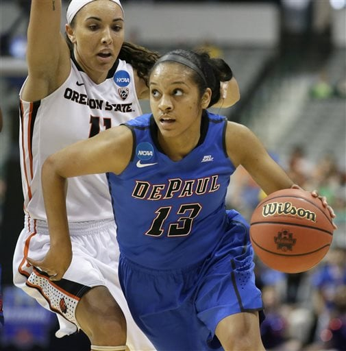 DePaul guard Chanise Jenkins (13) drives past Oregon State guard Gabriella Hanson (11) during the first half of an NCAA college basketball game in the regional semifinals of the women's NCAA Tournament Saturday, March 26, 2016, in Dallas. (AP Photo/LM Otero)