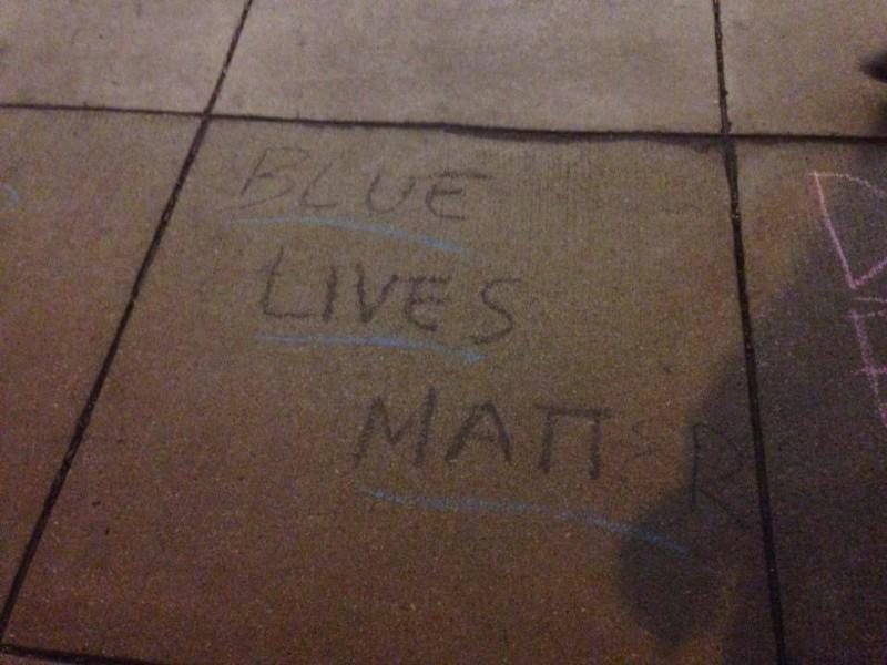 """""""Blue Lives Matter"""" was chalked by College Republicans on campus earlier this month. Phrases like this and """"Build a wall"""" sparked a controversy on campus regarding free speech and racism. (Photo courtesy of DEPAUL COLLEGE REPUBLICANS)"""