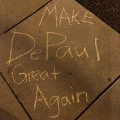 College Republicans were also confused as to why their chalkings were removed by campus grounds crews the following day. (Photo courtesy of DEPAUL COLLEGE REPUBLICANS)