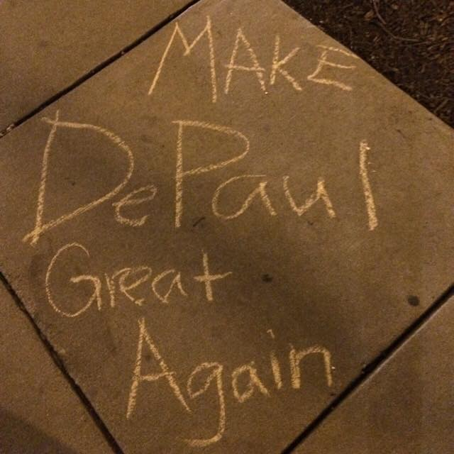 Several pro-Trump chalkings were found on DePaul's campus early Tuesday morning, sparking outrage. (Photo courtesy of DePaul College Republicans)