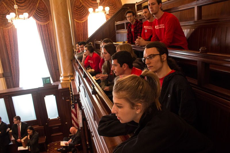 DePaul students and SGA representatives lobbied in Springfield and delivered postcards to state representatives. (Jesus Montero / The DePaulia)