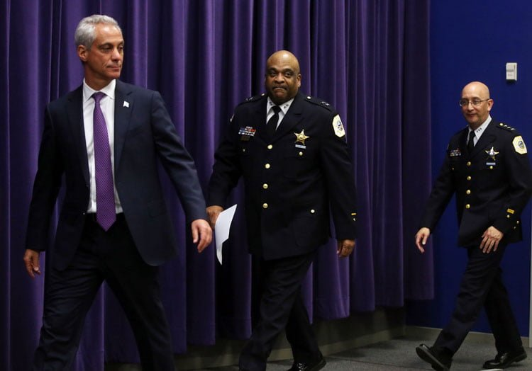 Mayor Rahm Emanuel introduces Eddie Johnson, the current Chief of Patrol, as the Interim Superintendent of the Chicago Police Department at CPD Headquarters on March 28, 2016. (Brian Cassella | Tribune News Service)