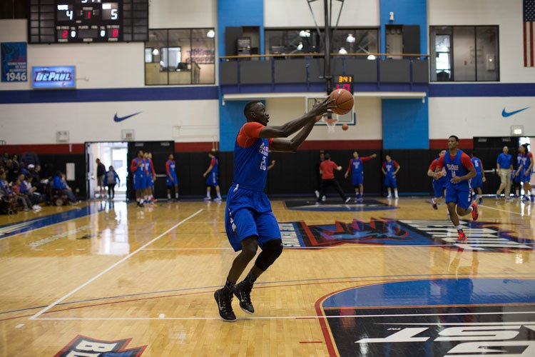 Freshman forward Oumar Berry is one of three DePaul players transferring next year. (Josh Leff / The DePaulia)