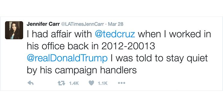 Commentary: My photo was used by a Twitter account tied to false Ted Cruz sex rumors