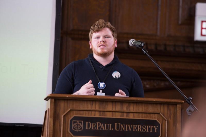 Brendan Yukins 0 educates on sexual assault awareness. (Josh Leff / The DePaulia)