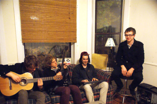 The Symposium Members Left To Right Benny Goetz A Senior At DePaul Charlie Gammill Sam Clancy And Jamie Seiwert Clancys Apartment