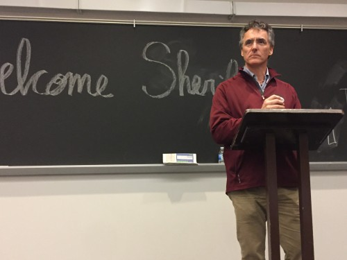 Sheriff Tom Dart speaks at an event sponsored by the DePaul Democrats Tuesday evening. (BRENDEN MOORE/THE DEPAULIA)