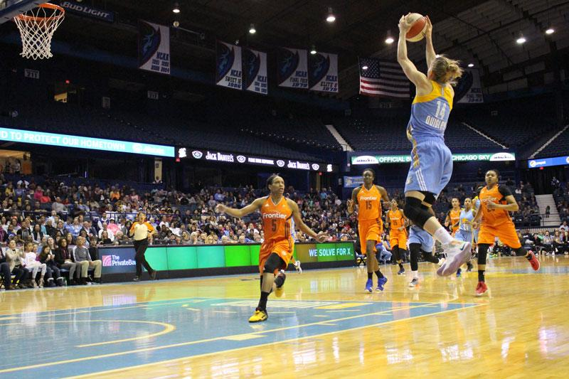 Allie Quigley at Allstate Arena where she plays for the Chicago Sky. She graduated from DePaul in 2008 and has played in the WNBA and overseas in her career. (Mariah Woelfel / The DePaulia)