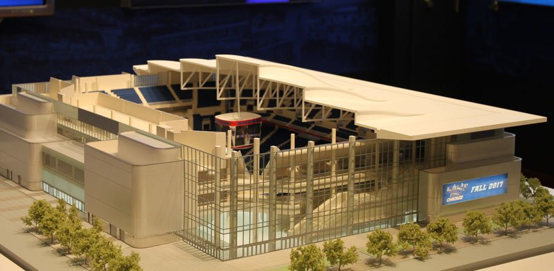 This scale model at DePaul's Loop campus gives an inside preview at how the arena will look from the outside and inside. (Matthew Paras / The DePaulia)