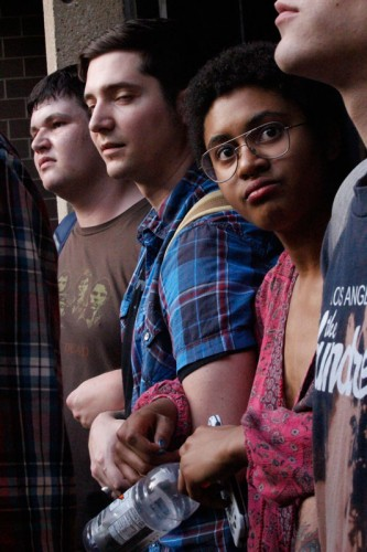Student protesters block attendees' entry into the Schmitt Academic Center. (Kirsten Onsgard / The DePaulia)