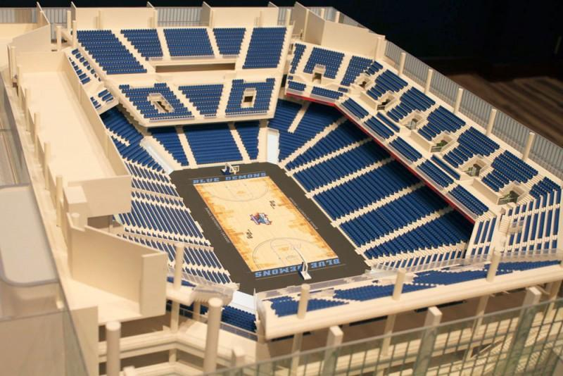 "The new DePaul arena will have student seating located above in the ""Demon Deck,"" a shift from where fans previously sat below at Allstate Arena. The building opens Fall 2017. (Matthew Paras / The DePaulia)"
