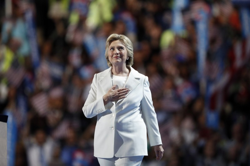 Democratic presidential nominee Hillary Clinton takes the stage to give her acceptance speech during the final day of the Democratic National Convention in Philadelphia , Thursday, July 28, 2016. (AP Photo/Paul Sancya)