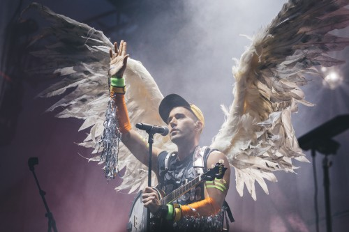 Sufjan Stevens performed the last set of the night on Pitchfork's second day. Known for his sadder songs, Stevens played more upbeat material and opened dressed in angel's wings. (Josh Leff | The DePaulia)