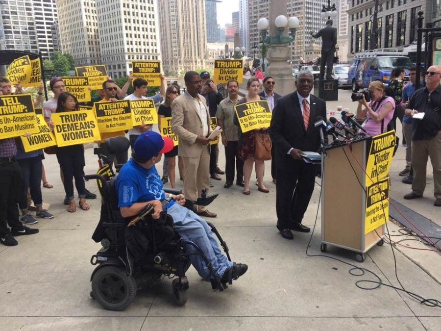 Protesters gather near Trump Tower ahead of GOP presidential nominee Donald Trump's fundraiser Tuesday in Chicago. (Brenden Moore | The DePaulia)
