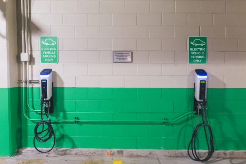 Electric car charging ports are located on the first-floor of the Clifton parking garage. (Josh Leff/The DePaulia)